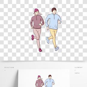 手绘跑步的两个男女