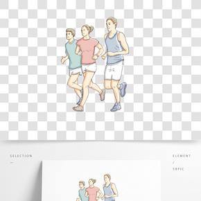 卡通手绘跑步的人