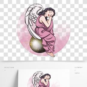 情人節坐著睡覺的丘比特小天使