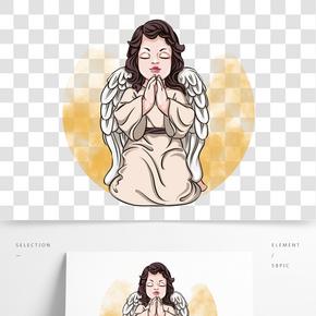 情人節跪下祈禱的丘比特小天使