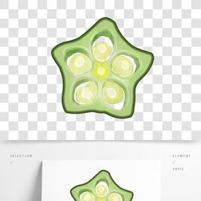 一片綠色小清新水彩手繪秋葵