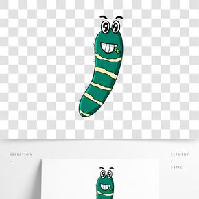 高兴的绿色毛毛虫