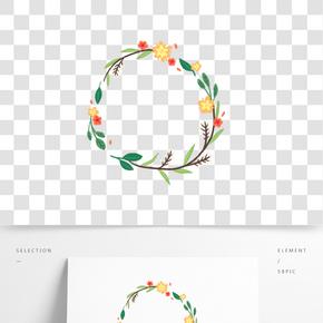 手繪可愛植物花朵花環
