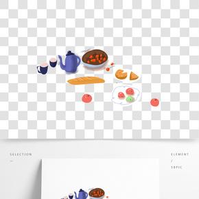 手繪的聚會美食食物