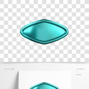 C4D青色立體不規則圖形標題框
