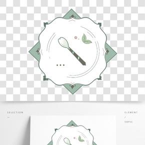 植物餐盤手繪插畫