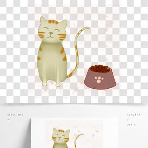 灰色小貓吃貓糧元素
