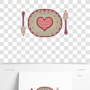 愛心餐盤手繪插畫