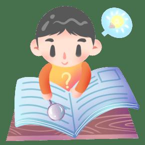 手绘放大镜看书插画