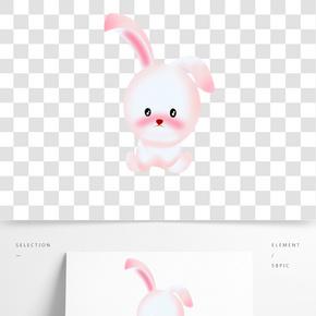 卡通萌萌噠的粉紅色小兔子免扣圖
