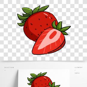 手繪紅色的草莓插畫