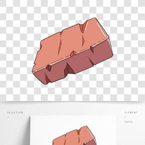 手繪插圖一塊紅色方磚