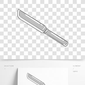 銀色手柄餐刀插畫