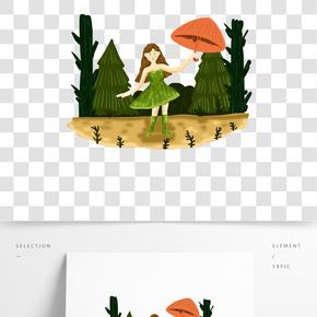 雨水小女孩雨傘樹木插畫