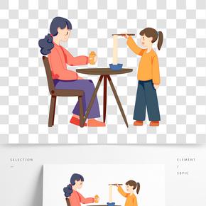 二月二龍抬頭女孩和媽媽吃龍須面