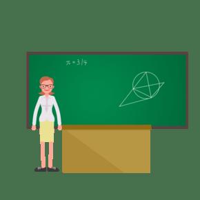 矢量卡通女老师黑板