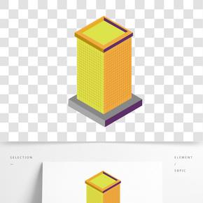 卡通黃色的方形建筑免摳圖