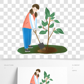植樹節環保公益的小女孩