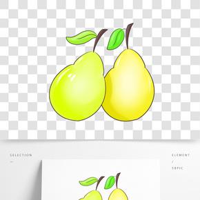 水果梨子卡通插畫