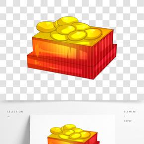 紅色盒子金蛋插畫