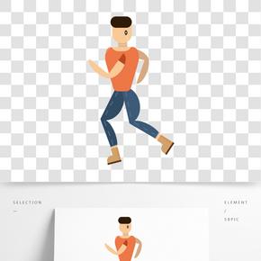 正在健身跑步的男人免扣图