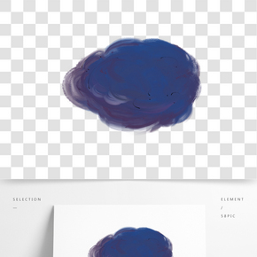 藍色油畫云朵圖案