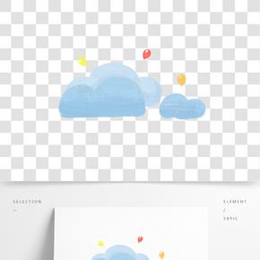 空中藍色云朵和氣球