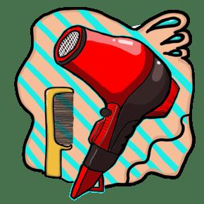 创意的吹风机涂鸦插画