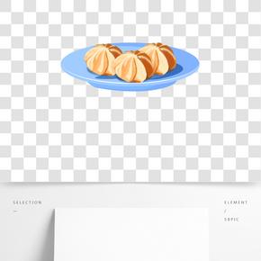 一盤奶油泡芙插畫