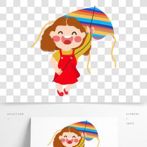 春天Q版穿紅色裙子放風箏的小女孩免扣圖