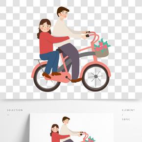 春游騎自行車出行的情侶免扣圖