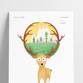 地球環保插畫風小動物麋鹿