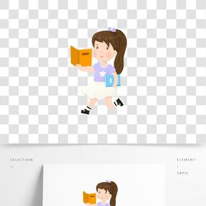 读书节读书日女孩跑步看书充电
