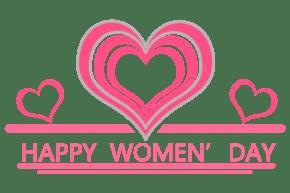 卡通粉色爱心三八妇女节