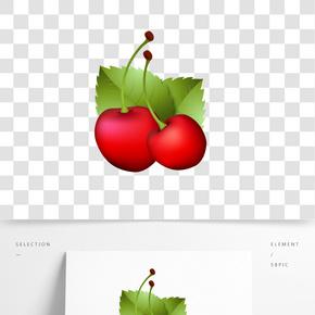 紅色水果車厘子插畫