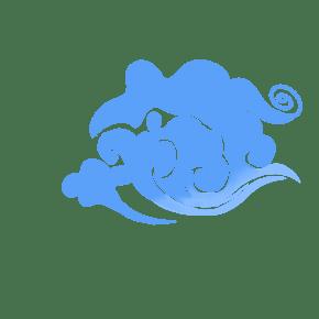 蓝色的祥云装饰插画