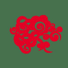 红色的祥云装饰插画