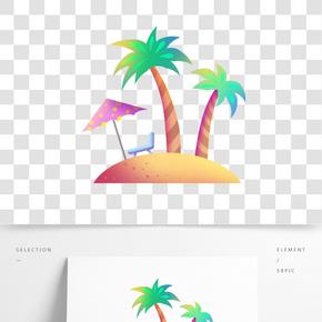 海灘彩色椰樹插畫