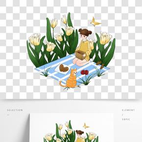 春游野餐女孩插畫