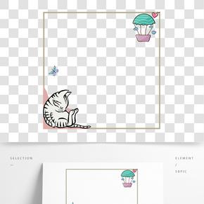 小動物裝飾邊框插畫