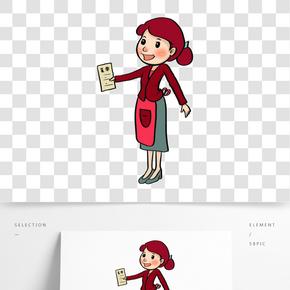 女神節暖紅色系手繪插畫電影服務員系圍裙女性紅衣