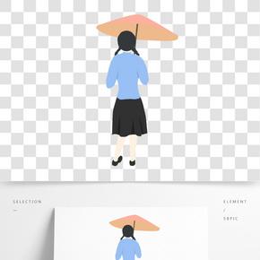清明節雨天民國打傘的女學生免扣圖