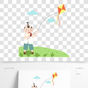 清明節野外放風箏的小童子免扣圖