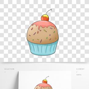綠色杯子蛋糕插畫