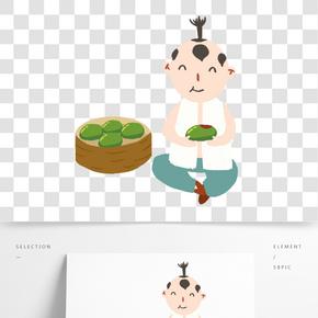 清明節Q版坐著吃青團的小童子免扣圖