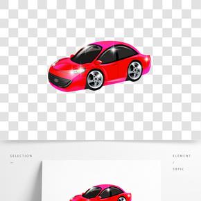 卡通手绘红色炫酷轿车