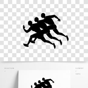 可爱矢量免抠男孩奔跑跑步比赛剪影