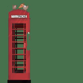 卡通电话亭免抠图