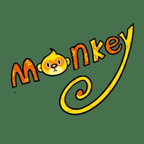 卡通英文字母猴子单词png透明底
