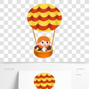 坐熱氣球旅行的Q版小女孩和寵物小鳥免摳圖